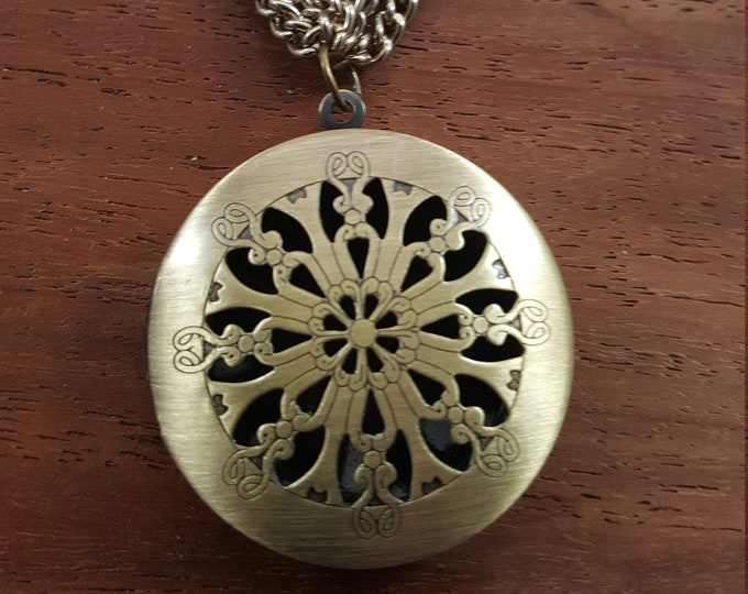 """Featured listing image: 21 """" multi strand gold necklace with a elegant Filigree Brass Locket pendant."""