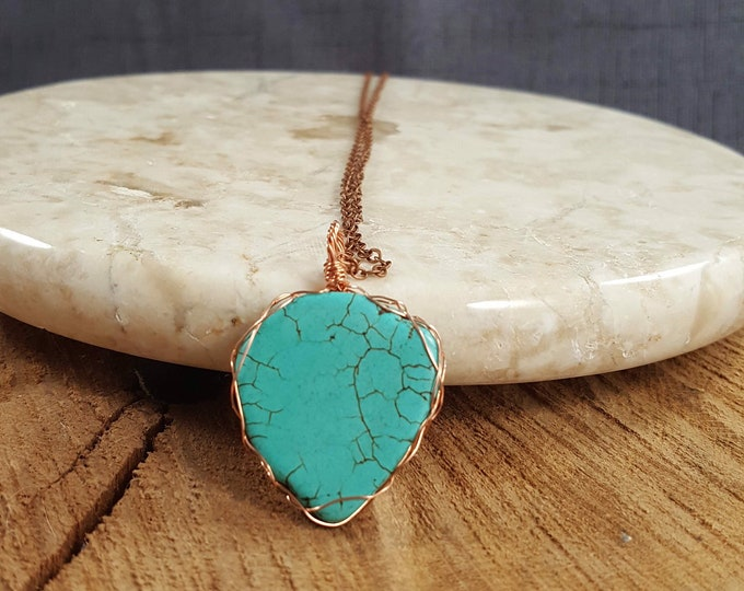 """Featured listing image: Beautiful Turquoise wire wrapped pendant on a 22"""" copper chain necklace ."""