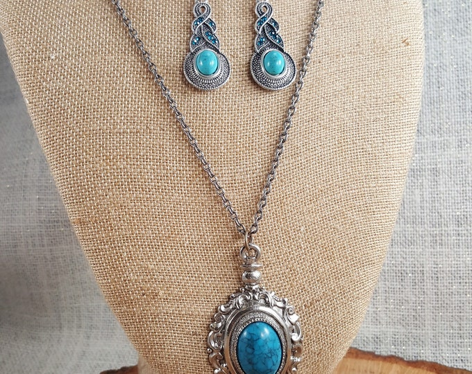 Featured listing image: Beautiful Turquoise pendant necklace with matching fishhook earrings. Great set.