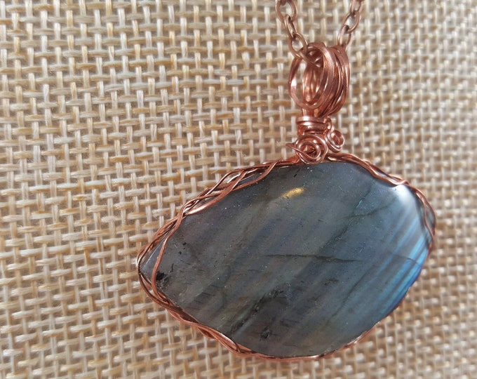 """Featured listing image: Beautiful Labradorite wire wrapped pendant on a 22"""" copper chain necklace."""