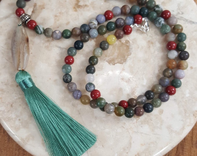 Featured listing image: Beautiful Mala Prayer necklace with clasp. 108 beads fancy Jasper stones with a charming quartz pendant and tassel.