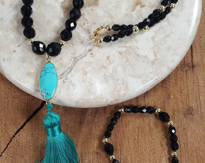 Featured listing image: Beautiful  Mala Prayer necklace 108 black onyx crystal beads with a mix of gold beads with a turquoise pendant & matching bracelet.