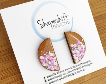 Bamboo & Resin Statement Studs - Pink and Silver Glittet