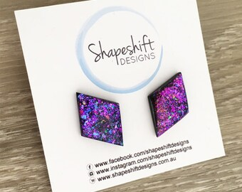 Diamond Resin & Polymer Clay Statement Stud Earrings - Black with Purple, Teal, and Pink Neon Flakes