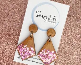 Resin & Bamboo Kite Dangle Earrings - Rose Gold and Light Pink Glitter