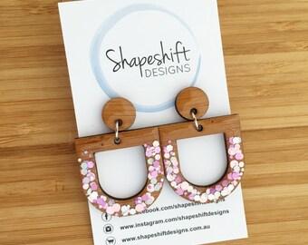 Resin + Bamboo Dangle Earrings - Light Pink & Rose Gold Glitter - Bunting Shape