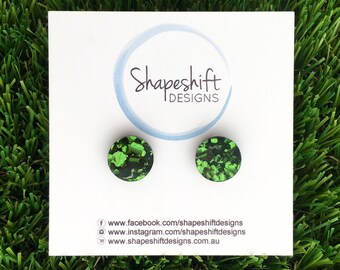 Chunky Green Glitter Acrylic Stud Earrings - 12mm Round