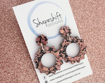 Sun Acrylic Statement Earrings in Rose Gold Holographic Shards