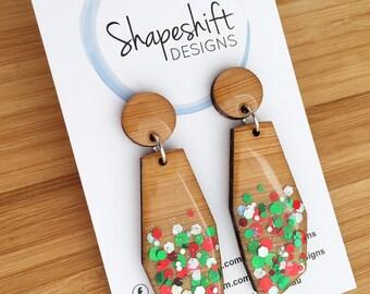 Resin & Bamboo Dangle Earrings - Christmas Geometric