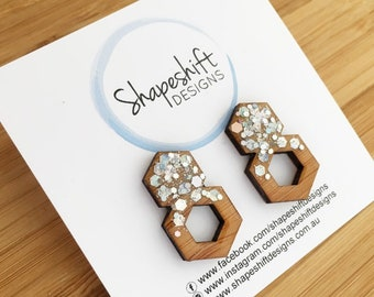 Resin & Bamboo Double Hexagon Statement Stud Earrings - Silver Holographic Glitter