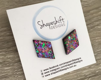 Diamond Resin & Polymer Clay Statement Stud Earrings - Black with Neon Rainbow Flakes