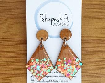 Resin & Bamboo Kite Dangle Earrings With Multicolour Neon Pastel Glitter Dots