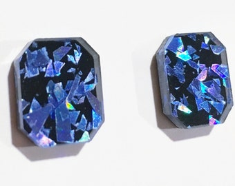 Rectangle Gem Stud Earrings in Blue Holographic Shards