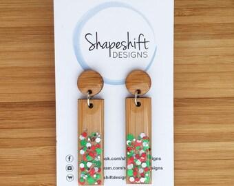 Resin & Bamboo Dangle Earrings - Rectangle - Christmas Glitter