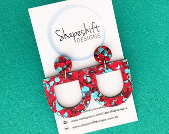 Chunky Red & Teal Glitter Acrylic Dangle Earrings - Bunting Shape