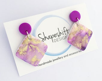Handmade Polymer Clay Dangle Earrings - Alcohol Ink coated with Resin.