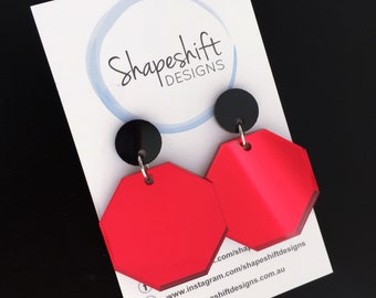 Stop Sign / Octagon Dangle Earrings - Red Mirror Acrylic with Black Studs
