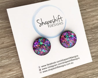 16mm Resin & Polymer Clay Statement Stud Earrings - Black with Neon Rainbow Flakes