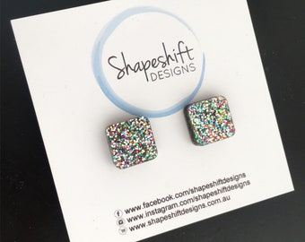 Multicolour Glitter Stud Earrings - Acrylic - Square (rounded edge) 12mm