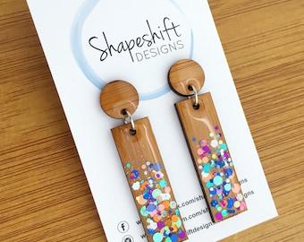 Resin & Bamboo Rectangle Dangle Earrings With Multicolour Glitter