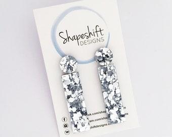 Chunky Silver Glitter Acrylic Dangle Earrings - Rectangle