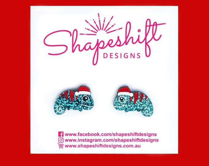 Featured listing image: Christmas Chameleon Stud Earrings - Turquoise with Red Stripes - Laser Cut Acrylic