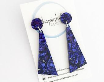Chunky Violet Purple Glitter - Acrylic Dangle Earrings - Long Triangles