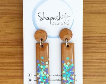 Resin & Bamboo Dangle Earrings - Teal, Silver and Purple Glitter