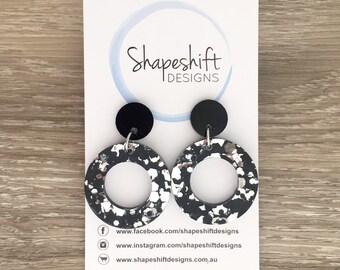 Chunky Black & Silver Glitter Acrylic Dangle Hoop Earrings - Medium