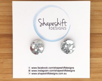 Chunky Mixed Silver Glitter Stud Earrings - Acrylic - Round 12mm
