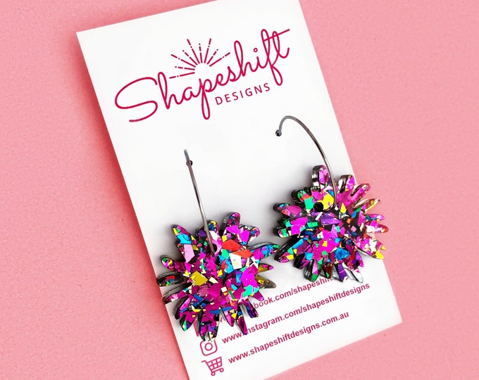 Featured listing image: Flower Burst Hoop Earrings - Rainbow Glitter