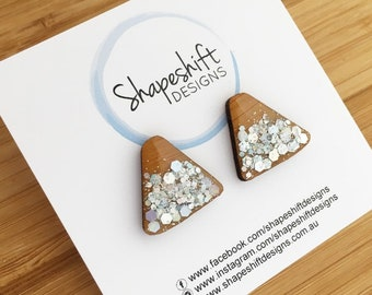 Wonky Triangle Statement Stud Earrings - Resin & Bamboo - Silver