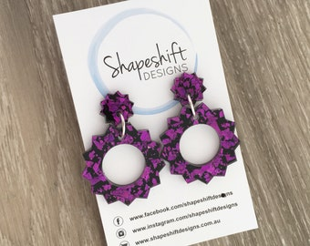 Sun Acrylic Statement Earrings in Magenta / Purple Gold Holographic Shards