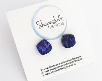 Dark Purple / Violet Glitter Acrylic Stud Earrings