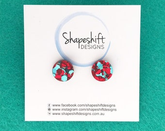 Chunky Red & Teal Glitter Stud Earrings - Acrylic - Round 12mm