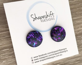 16mm Resin & Polymer Clay Statement Stud Earrings - Black with Purple, Teal, and Pink Flakes - Pair 2