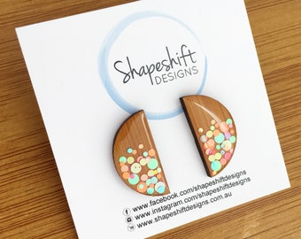 Bamboo & Resin Statement Studs - Neon Pastel Dots Multicolour