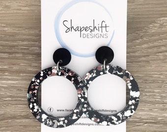 Chunky Black & Silver Glitter Acrylic Dangle Hoop Earrings - Large