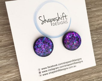 16mm Resin & Polymer Clay Statement Stud Earrings - Black with Purple, Teal, and Pink Neon Flakes