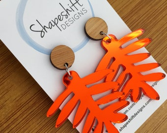 Fern Dangle Earrings - Orange Mirror Acrylic with Bamboo Studs