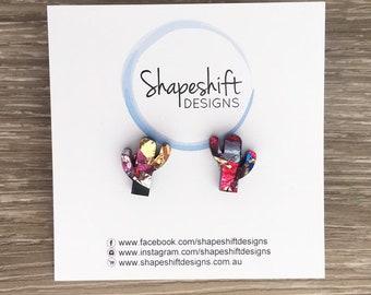 Chunky Multicolour Metallic Flake Acrylic - Cactus Stud Earrings - Pair 2