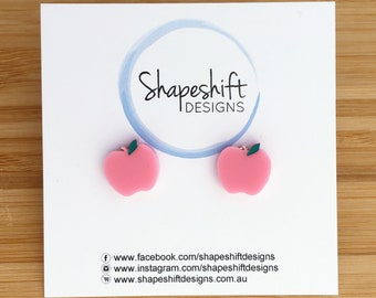 Apple Earrings - Pastel Pink With Green Paint Filled Detail - Laser Cut Acrylic