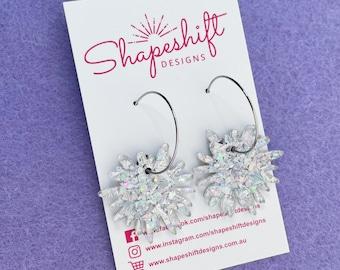 Flower Burst Hoop Earrings - Holographic Silver Glitter