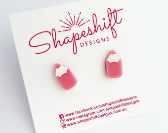Pencil Earrings - Pastel Pink With White Paint Filled Detail - Laser Cut Acrylic
