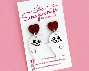 Baby Harp Seal Dangle Earrings - Pearlescent Creamy White Acrylic with Red Glitter Heart Studs