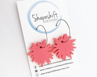 Flower Burst Hoop Earrings - Peachy Pink