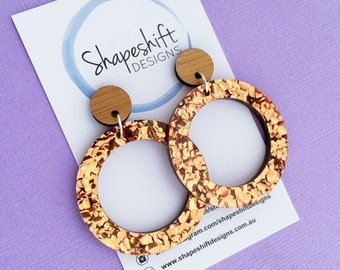 Chunky Copper Glitter Acrylic Dangle Hoop Earrings with Bamboo Studs - Large