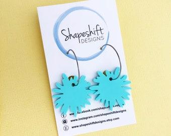 Flower Burst Hoop Earrings - Pastel Mint