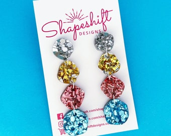 Four Colour Drop Earrings - Silver / Gold / Pink / Blue