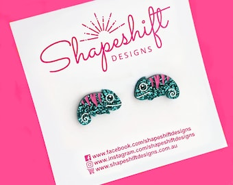 Chameleon Stud Earrings - Turquoise with Pink Stripes - Laser Cut Acrylic